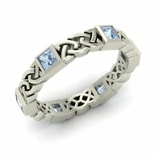 Certified Aquamarine Mens Women's Celtic Knot Wedding Band Ring Sterling Silver