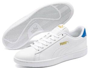 "Puma Retro Sneaker Vera Pelle "" Smash V2 L "" Puma Bianco - Palace Blu Oro"