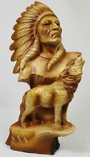 NATIVE AMERICAN CHIEF & WOLF FAUX WOOD CARVING Figurine Statue Indian Headdress