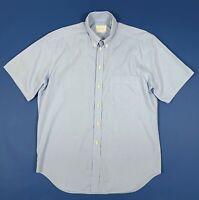 Trussardi shirts camicia uomo usato L 16 41 manica corta quadri azzurra T5934
