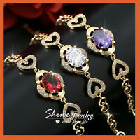 9K GOLD GF RUBY AMETHYST DIAMOND VINTAGE FILIGREE SOLID BANGLE BRACELET GIFT HER