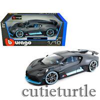 Bburago Bugatti Divo 1:18 Diecast with Light Blue Accents Matte Grey 18-11045