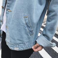 Fashion Men's Fit retro Thicken Coat Jean Denim Jacket Lapel Outerwear