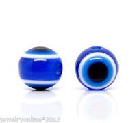 100 Dunkel Blau Resin rund Spacer Perlen Beads Evil Eye Böse Auge 10mm