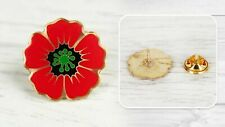 Lapel Pin Emblem Enamel Red Poppy Flower Memorial Remembrance Veteran's Day