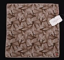 NWT ISAIA Coraflage Brown Cotton Silk Blend Pocket Square 12""