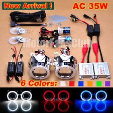 """Nuevo 2.5"""" Bi-Xenon HID Kit De Proyector Faros Angel Eye Halo de coche de Lente AC/35W"""