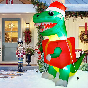 6FT Christmas Inflatable Dinosaur w/ Light Blow Up Yard Outdoor Xmas Decoration