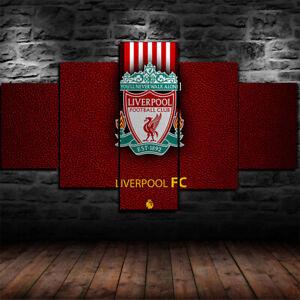 Framed Liverpool F.C Football Poster 5 Piece Canvas Print Wall Art Decor
