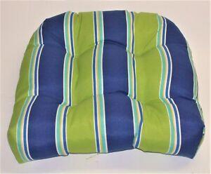 "Resort Spa Outdoor Wicker Seat Pad ~ Lime & Navy Stripe ~ 17"" x 18"" x 4.5"" NEW"