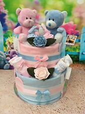 2 Tier Twins Girl/Boy/Neutral Teddy Nappy Cake Gift Baby Shower - FREE POSTAGE!!