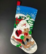 Bucilla Santa Bear Sleigh Handmade Sequin Felt Christmas Stocking Sewn Finished