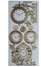 Embossed Clocks Peel off Stickers Metallic Gold Antique Clock Pocket Watch