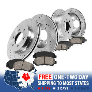 Front+Rear Drilled Slotted Brake Rotors And Ceramic Pads For Armada Titan QX56