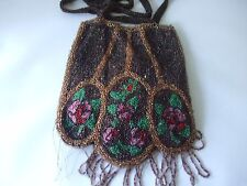 GORGEOUS POUCH SHAPED ANTIQUE BEADED ROSE EVENING BAG