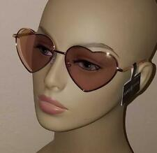 New Glance Eyewear Heart-shaped Sunglasses with Gold-rimmed, Rose-colored Lenses