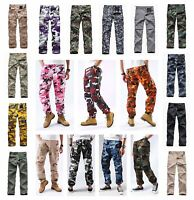 Mens Military Army BDU Pants Casual Camo Work Outdoor Zip Fly Cargo Pants