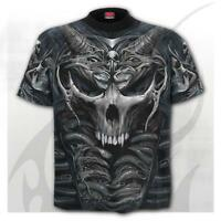 Gothic Biker Rock Metal Skull Armour Style 3D Graphic T-shirt ( Spiral Direct )