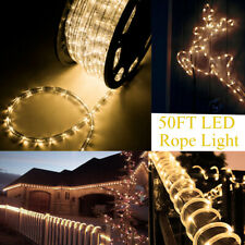 50 FT Warm White LED Rope Light 110V Outdoor Xmas Party Strip Light Wedding