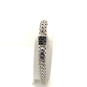 "John Hardy Sterling Silver Black Sapphire Classic Chain Woven Bracelet 7"""