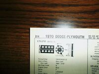 1970 Dodge Plymouth EIGHT Series Special Cam 335HP 383 CI V8 4BBL Tune Up Chart