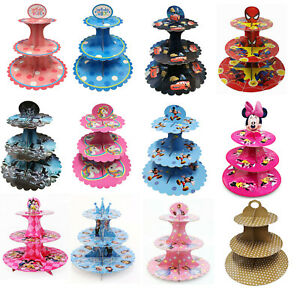4Pcs Birthday Party Decoration Bunting Cake Stand 3 Tier Balloons Candles Pack