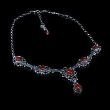 GORGEOUS 925 Sterling Silver Genuine Red Orange Coral Chain Linked Necklace