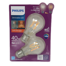 Philips Warm Glow 40W Equivalent Soft White A19 Dimmable LED Bulbs Pack Of 2