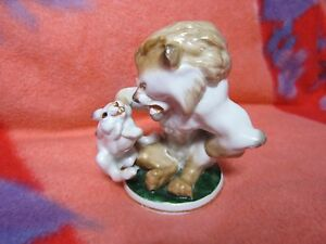 VINTAGE Porcelain Figurine Soviet russian antique lion rabbit hare lomonosov LFZ