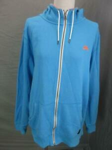 NIKE SB SIZE L MENS BLUE ATHLETIC FULL ZIP 100%COTTON OUTDOOR HOODED JACKET T733