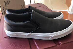 VANS Slip Ons Leather Black Sneakers Mens Sz. 11 (UK 10) Perforated Classic Low