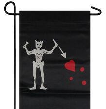 """Jolly Roger Pirate Black Beard Garden Banner/Flag 12""""X18"""" Sleeved Poly"""