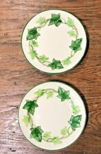"FRANCISCAN IVY AMERICAN VTG PAIR OF 6-1/4"" BREAD PLATES EMBOSSED GREEN IVY VGUC"