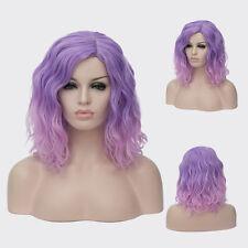 Durable Heat Short Beach Waves Hairstyle Cruly Wig Purple powder gradient 15.7''