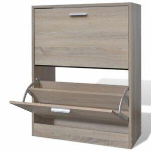 vidaXL Wooden Shoe Cabinet with 2 Compartments Oak Look Storage Rack Organiser