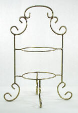Catering Home Double Tier Pie Cake Plate Stack Rack Gold Swirl Metal 00101010