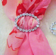 Rhinestone Scarf Ring Silver White Stones Oval Buckle for Scarves Cincin Tudung