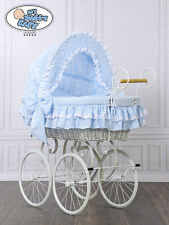 My Sweet Baby Retro Stubenwagen Nostalgiestubenwagen Weide XXXL Blau Weiß TÜV