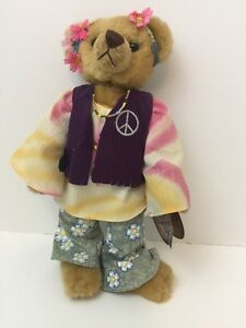 Hippy Ivy Peace Pickford Bears 20th Century Brass Button  1960's  w/ Stand