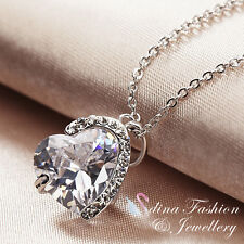 18K White Gold Plated Simulated Diamond Pure Heart Exquisite Necklace Jewellery