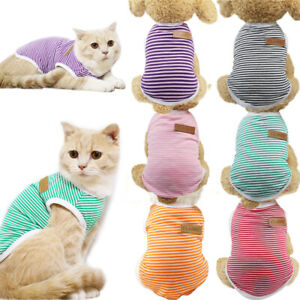 Classic Striped Pet Clothes for Cat Dog Summer Dog Vest Casual Soft Puppy Shirts