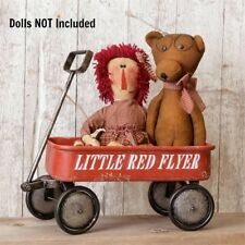 New Primitive Retro Vintage Style Little Red Flyer Wagon Wheels Doll Size 17""