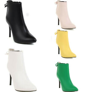 Womens Pointed Toe Ankle Boots Ladies Stiletto High Heels Inside Zip Booties Sz