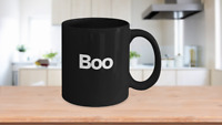 Boo Halloween Mug Black Coffee Cup Funny Gift for Witches Ghost Gobblins Fall