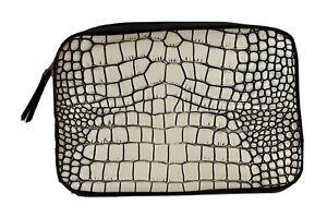 New Estee Lauder Faux Leather Cosmetic Makeup Bag Zipper Case -Crocodile Pattern