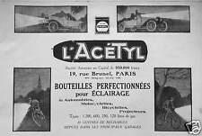 PUBLICITÉ L'ACÉTHYL BOUTEILLES PERFECTIONNÉES POUR ÉCLAIRAGE AUTOMOBILES