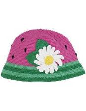 New San Diego Hat Daylee Design WATERMELON Crocheted Cap PINK Baby Girl 6-12 mos