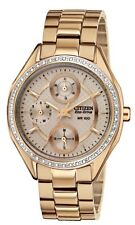 Ladies Citizen Eco-Drive Swarovski Rose Stainless Day and Date Watch FD1063-57X