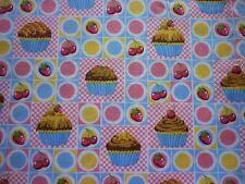 Clearance FQ Cupcake CILIEGIE FRAGOLE quadrati di tessuto Cibo Cucina Kitsch