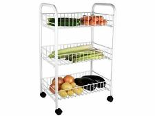 New 3Tier Kitchen Home Office Storage Cart Smart Trolley Rack EasyAssembly WHITE